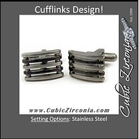 Men's Cufflinks- Stainless Steel Fence Design
