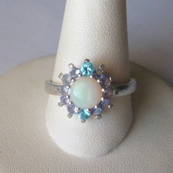 Natural Opal Ring London Blue Topaz & Tanzanite Sterling Silver .925