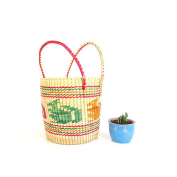 Vintage Large Basket with Handles -- Colorful Straw Basket -- Ethnic Woven Basket -- Round Tall Storage Basket -- Kangaroo Squirrel Basket