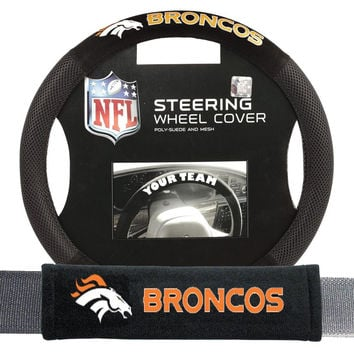 Denver Broncos NFL Steering Wheel Cover and Seatbelt Pad Auto Deluxe Kit