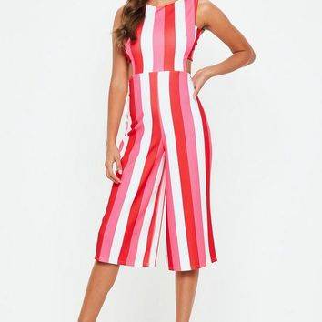 Missguided - Pink Tab Side Stripe Jumpsuit