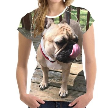 Cute French bulldog All Over Print T-Shirts - Women's Top Tee
