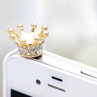 Cute Rhinestone Crown Dust Plug for iPhone 4 4s 5 5s = 1651539076