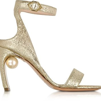 Nicholas Kirkwood Crinkly Metallic Leather 90mm Lola Pearl Sandals