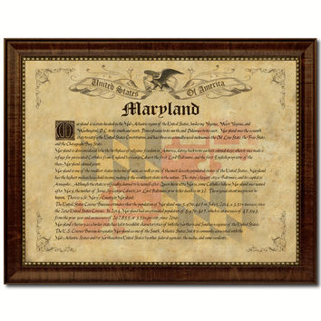Maryland Vintage History Flag Canvas Print, Picture Frame Gift Ideas Home Décor Wall Art Decoration