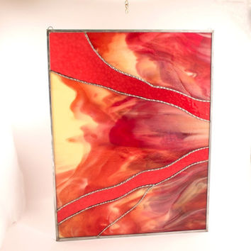 Modern Abstract Artwork, Contemporary Stained Glass Panel, Window Hanging, Cranberry Glass, One of a Kind, Living Room Decor, Unique Art