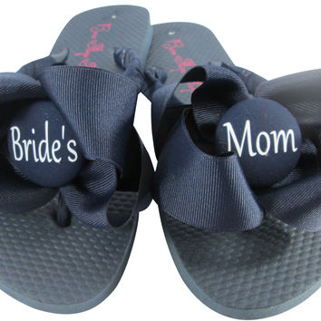 Navy Wedding Ribbon Flip Flops for the Mom of the Bride