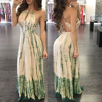 Fashion Stripe Print Halter Hollow Backless Sleeveless High Waist Maxi Dress