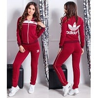 ADIDAS Women Casual Sport Cardigan Jacket Coat Trousers Pants Set Two Piece