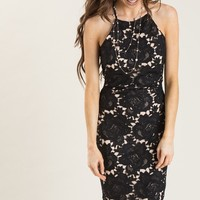 Maya Black Lace Halter Midi Dress