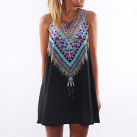 Women Summer Print Chiffon Dress