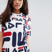 Fila Oversized Boyfriend T-Shirt With All Over Logo at asos.com