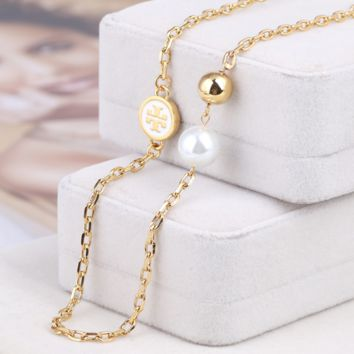 Tory Burch Women Fashion New Pearl High Quality Long Necklace Sweater Chain White