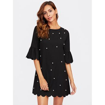 Trumpet Sleeve Pearl Beading Scalloped Dress Black