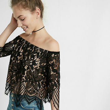 all-over lace off the shoulder tee