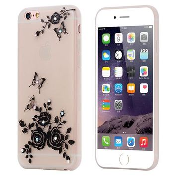 KISSCASE For iPhone 6 6S Luminous Case Flowers Bling Diamond Case For iPhone 7 7 Plus Soft TPU Glow In Dark Glitter Phone Cover