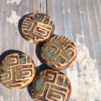 Sale Ceramic Focal Bead-25 mm Brown Mix Color-Carved look Disc Bead-Supplies-Beads-jewelry-rustic look, ancient look bead,Antique look,beach
