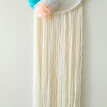 Cream/Turquoise/Peach Dreamcatcher, Pom Pom Dreamcatcher, Yarn Dreamcatcher, Boho Nursery Dreamcatcher, Baby Shower Gift, Nursery Decor