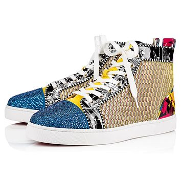 Christian Louboutin Cl 19s Louis P Strass Men's Flat Strass/patent Nicograf Version Multi Sneakers
