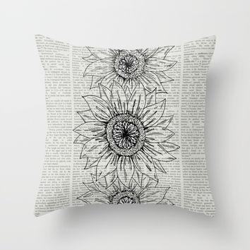 Sunflower Sketch Throw Pillow by JustV