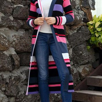 Multicolor Striped Colorblock Open Front Long Cardigans For Women
