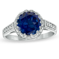 8.0mm Lab-Created Blue Sapphire and White Topaz Crown Ring in Sterling Silver
