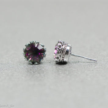 10mm Sterling Silver Genuine Round Mystic Rainbow Topaz Crown Stud Earrings