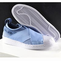 Adidas shell toe superstar slip on Casual Sports Shoes blue H-CSXY
