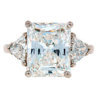 Cartier Diamond Platinum Three-Stone Ring GIA Certificate