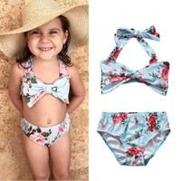 NEW Flower beach new biquini Kids Toddler Girls Floral Bikini Swimwear Swim Bathing Suit Swimming Costume