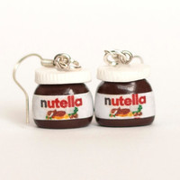 Nutella earrings kawaii chocolate miniature Polymer clay by Zoozim