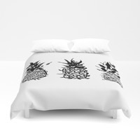 Three pineapples Duvet Cover by Yilan