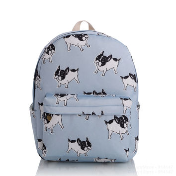 2016 Girls Women Cute Dog Canvas Backpacks School Backpack Rucksack Travel Bag Bookbag Character Pattern Charm Mochila New