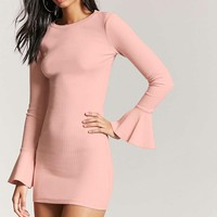 Trumpet Sleeve Bodycon Dress