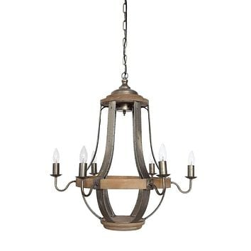 "Vintage Wood and Metal 27"" Chandelier 