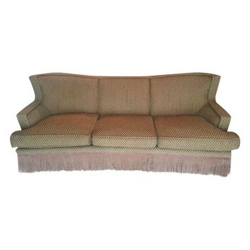 Pre-owned Century Furniture Green & Gold Custom Sofa