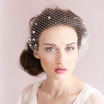 Romantic Birdcage Bridal Face Veil Beaded Wedding Veil With Comb Accessories Ivory Bridal Veil Party Accessories Blusher