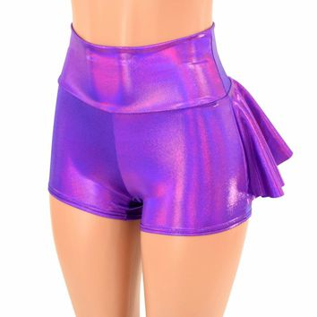 Grape Holographic Ruffle Rump Shorts