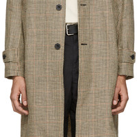 Beige Houndstooth Classic Car Coat