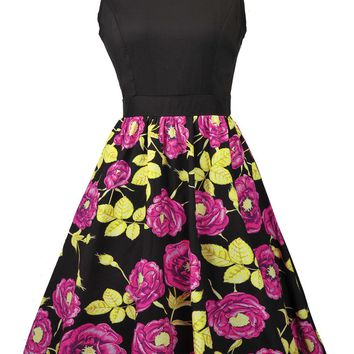 Casual Floral Printed Round Neck Sleeveless Skater Dress