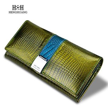 H H Alligator Genuine Leather Women Clutch Wallets Ladies Vintage Hasp Crocodile Long Purse Cow Leather Wallet