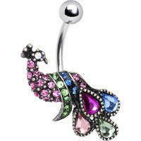 Multi Jeweled Peacock Belly Ring