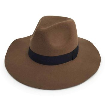 men's winter fedora felt hats with accent band - dark brown Case of 24