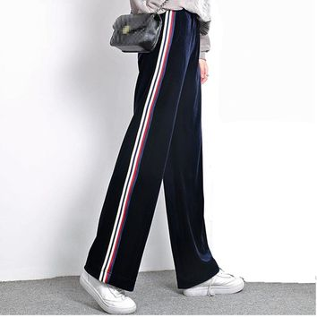 2018 Women Velvet Wide Leg Pants Sweatpants Side Stripe Runner Pants Womens Loose Pant Casual Trousers 4 Colors 2XL Flare Pants