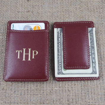 Monogrammed Leather Money Clip - Monogram Wallet - Personalized - Groomsmen Gift - Gifts for Men