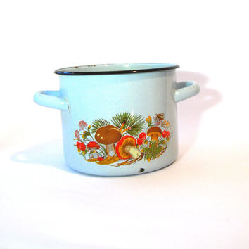 small light blue soviet vintage enamel pot with mushrooms