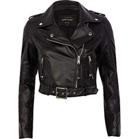 Black belted hem cropped leather jacket