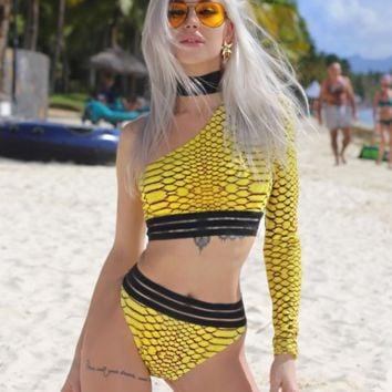 Summer New Fashion Texture Two Piece Bikini Swimsuit Yellow