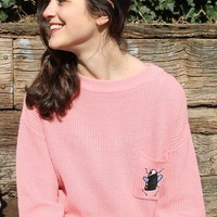 Embroidery Patch Pocket Jumper Pink - THE WHITEPEPPER