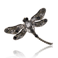 7 Colors Jewelry Broochs Vintage Lovely Dragonfly Crystal Rhinestone Scarf Pins Brooches For Women SM6